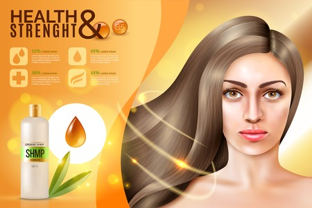 Realistic commercial background with oil contained hair cosmetics and pretty model face of young woman vector illustration Illustration