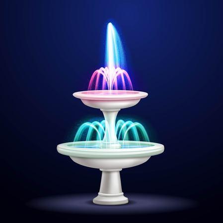 Fontaine de cascade de l'eau en plein air avec éclairage au néon à la nuit réaliste closeup image objet isolé illustration 3d Banque d'images - 87287415