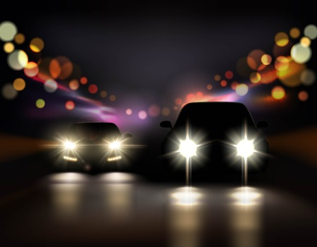 Car lights realistic background with night road and two car front-side silhouettes with headlight and shadows 3d illustration.