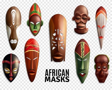 La ilustración 3d y las máscaras africanas realistas transparentes fijan el icono para la decoración interior. Foto de archivo - 87287417