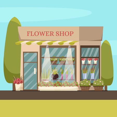 Flower shop background with flowers trees and plants orthogonal vector illustration