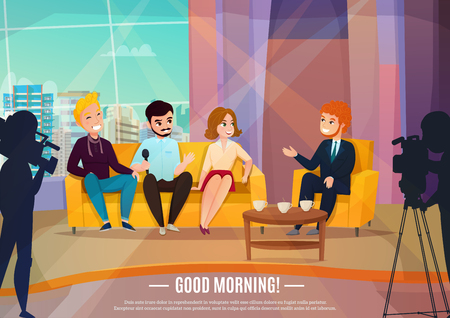 Talk show flat poster with three participants sitting on a couch and male reporter vector illustration