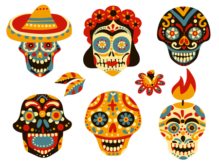 Mexican day of dead traditional colorful ornamental skull symbols icons collection with mask in sombrero isolated vector illustration Illustration