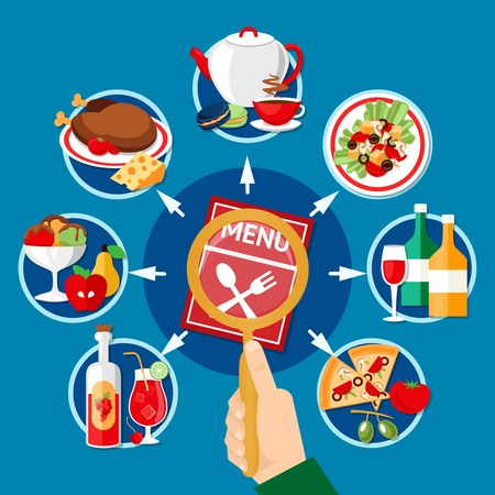 Restaurant menu concept with various dishes and beverages on blue background flat vector illustration Illustration