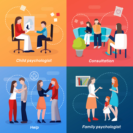 Psychologist counseling people 2x2 design concept with flat human characters of family couch doctor at consultation vector illustration Illustration
