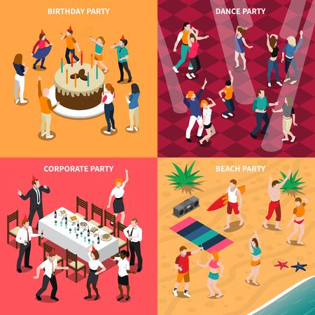 Concept de design isométrique avec des gens à la fête d'anniversaire, soirée dansante, célébration d'entreprise et illustration vectorielle de plage isolé Banque d'images - 87287436