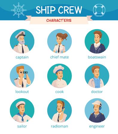 Die runden Ikonen der Yachtschiffsmannschaftscharakter-Karikatur, die mit Kapitänseemannkochingenieur boatswain eingestellt wurden, lokalisierten Vektorillustrationen