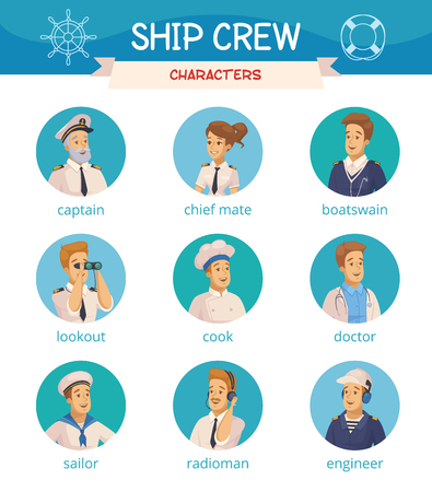 Yate barco tripulación personajes dibujos animados ronda iconos conjunto con capitán marinero cocinero ingeniero contramaestre ilustraciones vectoriales aislados Foto de archivo - 87287437