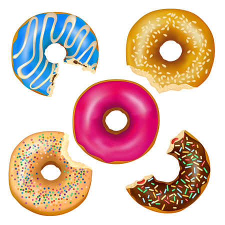 Set of realistic eaten donuts with filling, various decoration including colorful glaze, sesame seeds isolated vector illustration