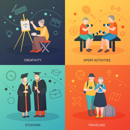 Modern aged people flat 2x2 design concept with four doodle compositions human characters and drawn symbols vector illustration