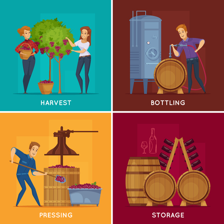 Winery production concept 4 cartoon concept square with grape harvesting pressing wine bottling storage isolated vector illustration Illustration