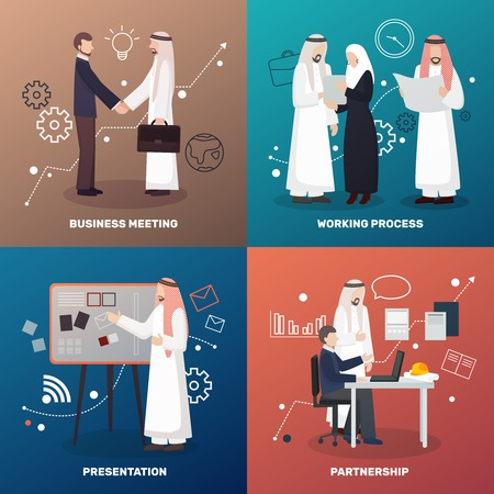 Arab business people 2x2 design concept with colorful image compositions of flat human characters and icons vector illustration Illustration