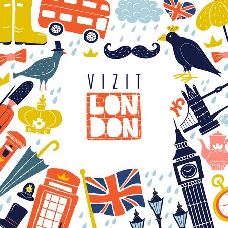 ロンドンのランドマークとフラグ、バス、傘、白い背景のベクトル図にポンドを含むシンボルの装飾的なフレーム