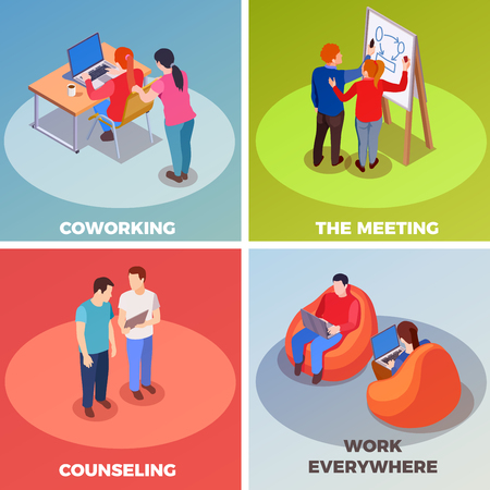 Coworking people isometric 2x2 design concept with compositions of human characters in coworking space with text captions vector illustration Illustration