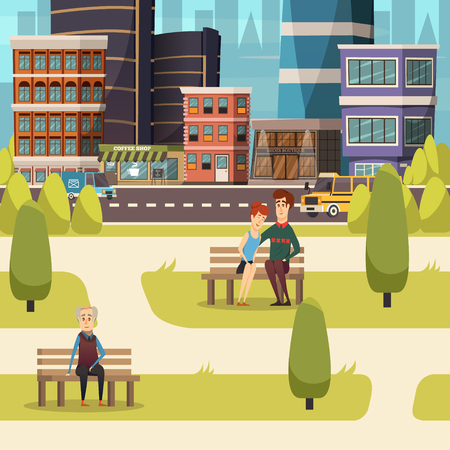 City landscape orthogonal background with  urban residents sitting on benches of town square flat vector illustration Çizim