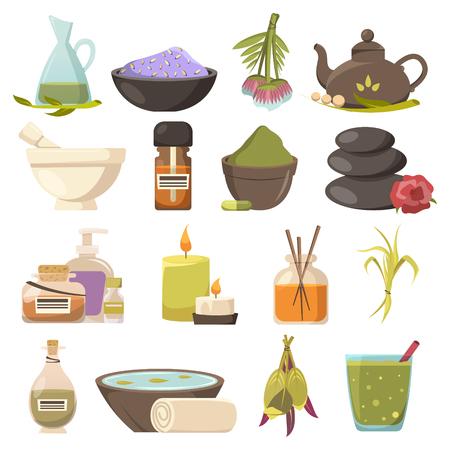 Ensemble d'icônes de cosmétologie naturelle liée à la beauté spa relaxation aroma thérapie et illustration vectorielle plane de thalassothérapie