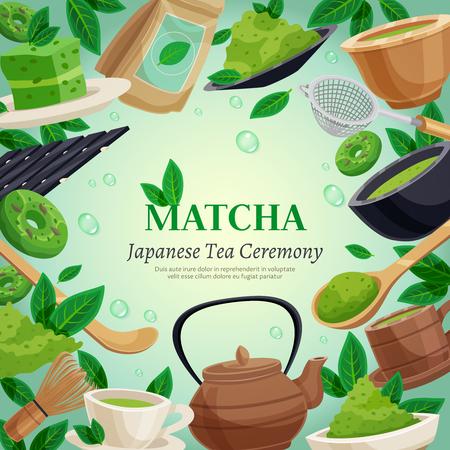 Japanse thee ceremonie vierkante frame achtergrond poster met groene matcha poeder klopje theepot cups dessert vector illustratie