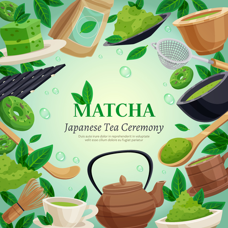 Japanese tea ceremony square frame background poster with  green matcha powder whisk teapot cups dessert vector illustration Illustration