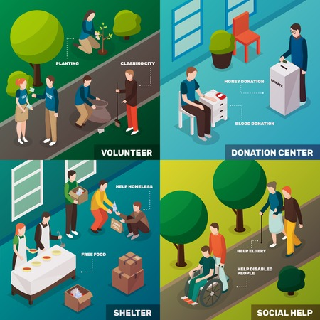 Charity volunteer people isometric 2x2 design concept with human characters of young humanitarian enthusiasts and activities vector illustration