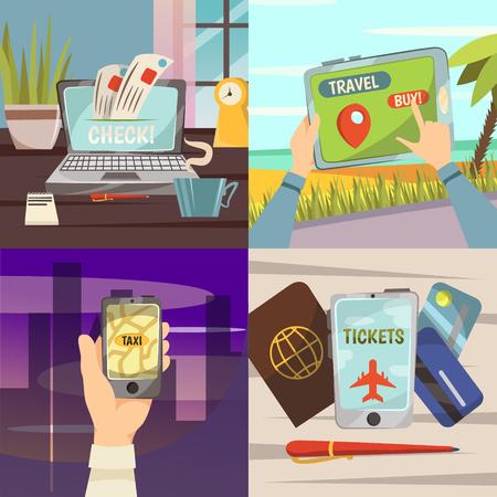 4 제곱 온라인 예약 서비스 아이콘 세트 온라인 확인 사이트와 여행을 구입 전화 벡터 일러스트를 사용하여 택시를 얻을 일러스트