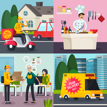 Catering orthogonal flat concept with cooking meal, food delivery, courier with order in office isolated vector illustration Illusztráció