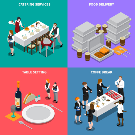 Catering services isometric design concept with waiters, table setting, coffee break, food delivery isolated vector illustration Illustration