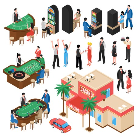 Casino isometric icons set with croupier and gamers playing roulette black jack and slot machine isolated vector illustration Çizim