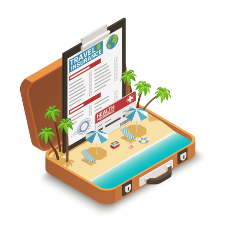Travel insurance policy certificate advertisement isometric composition with tropical beach inside open vacation suitcase symbol vector illustration
