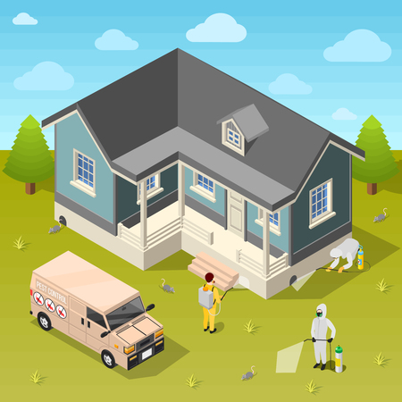House disinfection isometric background with exterminators in protective suits using repellent for cleaning of rural cottage vector illustration Illustration