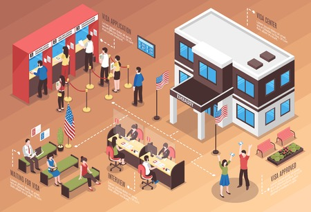 Visa center composition with interview and people waiting isometric vector illustration