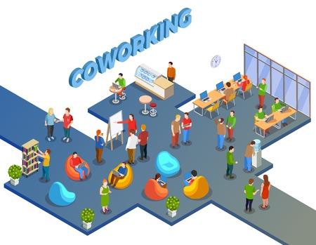 Het coworking van mensen isometrische samenstelling met open plek menselijke cijfers beanbag stoelen en kantoormeubilair met tekst vectorillustratie Stock Illustratie