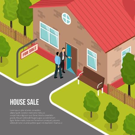 バイヤーと 1 階建てコテージを示す不動産代理店の従業員の家販売等尺性ベクトル図