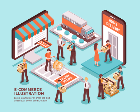 Electronic commerce isometric design concept with online store delivery truck unloading of package elements vector illustration