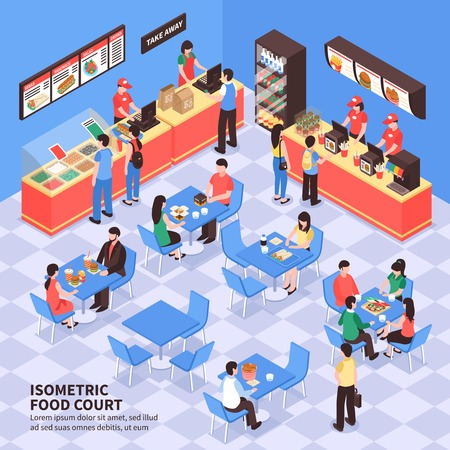 Fast food court with visitors sitting at tables and staff at counters with food containers isometric vector illustration