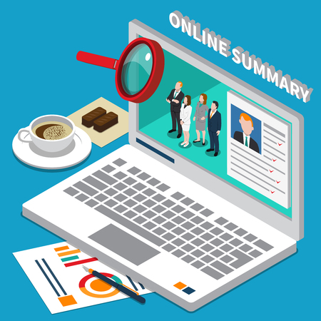 Colored recruitment hiring HR management people composition with online summary description vector illustration