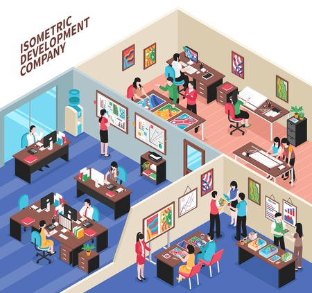 Development company isometric vector illustration with office interiors and creative employees involved in business process Illustration