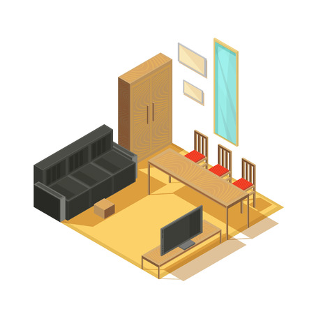 Furniture isometric set of furnished room items armoire sofa tv set mirror and chairs with table vector illustration Illustration
