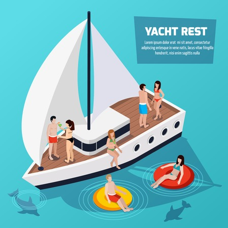 Colored water park aquapark isometric composition with swimming and relaxing people on a yacht vector illustration