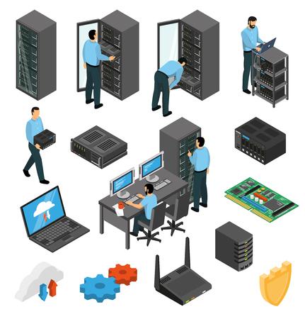 Zestaw izometryczny wyposażenia centrum danych z inżynierami zbierającymi stojaki serwerów na białym tle ilustracji wektorowych