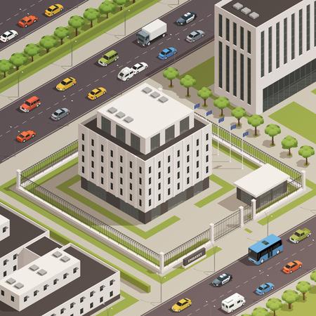현대 흰 돌 정부 건물 및 바쁜 거리 아이소 메트릭 컴포지션 벡터 일러스트와 함께 주변 도시 중심 지역