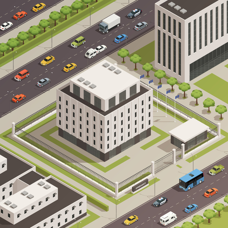 Modern white stone government building and surrounding  city center area with busy streets isometric composition vector illustration