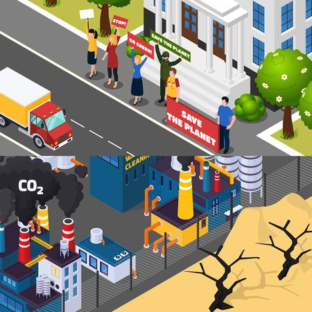 地球温暖化は、地球を救うための街路発現を持つアイソメ水平バナー、工場 co2 排出分離ベクトルイラスト