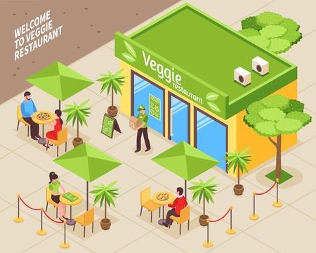 Vegetarian cafe isometric background with visitors of veggie restaurant sitting outdoor at tables under umbrellas vector illustration Illustration