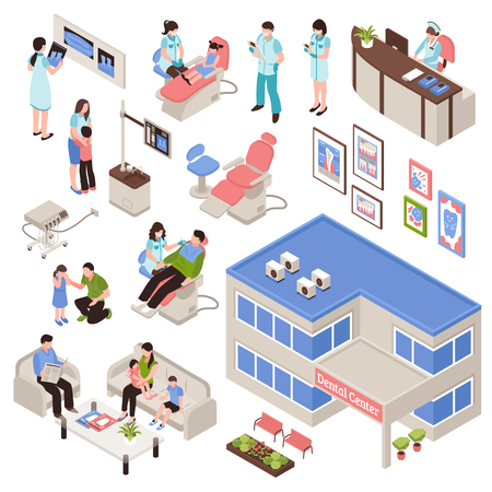 Stomatology isometric set of dental center building and clinic interiors with doctors and patients  isolated vector illustration