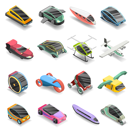 Future transport isometric icons set of conceptual vehicles of new generation isolated vector illustration