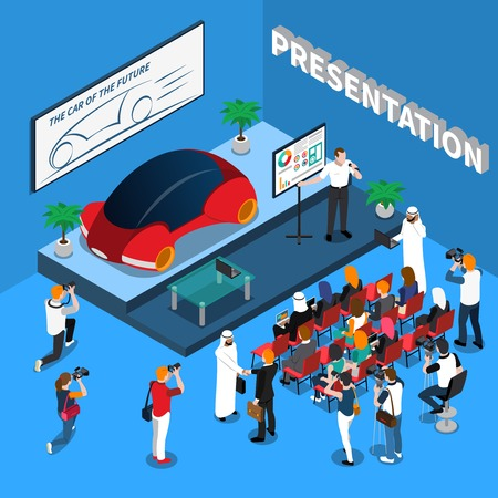 Car presentation isometric composition on blue background with orator near screen, audience and journalists vector illustration Иллюстрация