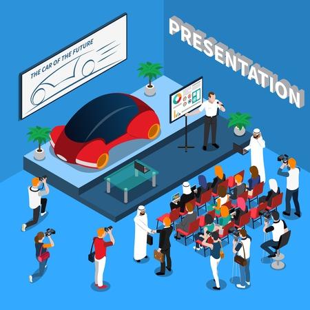 Composição isométrica de apresentação de carro em fundo azul com orator perto de tela, audiência e jornalista ilustração vetorial Foto de archivo - 87532325