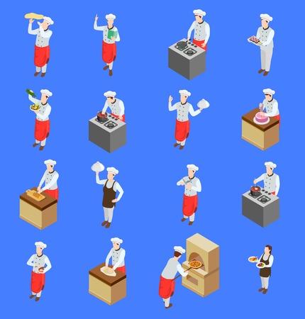 La raccolta isometrica delle icone della gente di pizzaiolo del cuoco unico professionale della gente dei personaggi umani isolati con gli elettrodomestici da cucina vector l'illustrazione Vettoriali