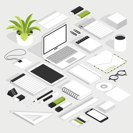 Stationary isometric white set with notebook smartphone glasses badge envelope floppy disk and other office supplies isolated elements vector illustration Çizim