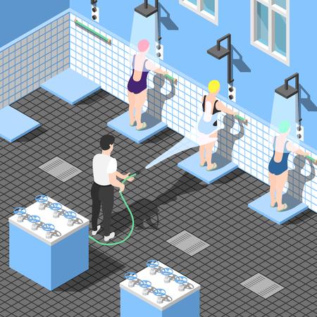 代替ハイドロセラピー医学シャワー室でのウォータージェット下の水着の女性との等角の背景